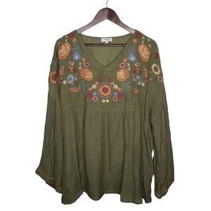 Umgee: olive & Floral Boho top